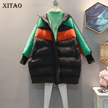 XITAO Plus Size Hit Color Tide Pocket Parka Women Clothes 2019 Fashion Korean Oversized Hooded Collar Full Sleeve Coat GCC2552