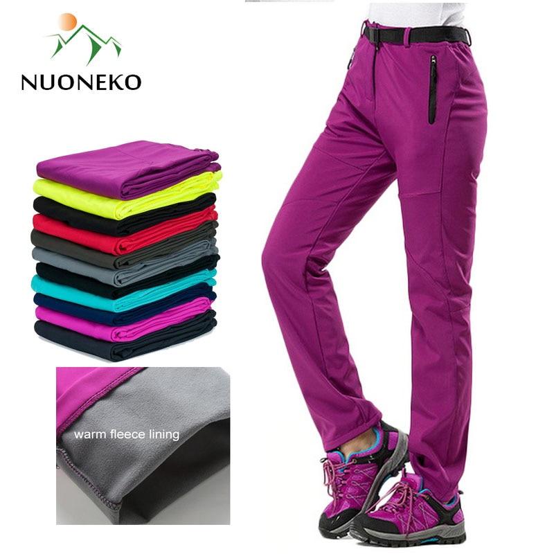 NUONEKO New Women Thick Warm Fleece Softshell Pants Camping Hiking Pants Outdoor Trousers Trekking Ski Waterproof Pantolon PM21