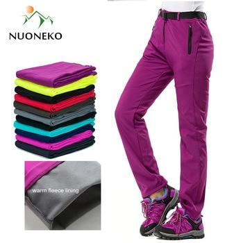 цена NUONEKO New Women Thick Warm Fleece Softshell Pants Camping Hiking Pants Outdoor Trousers Trekking Ski Waterproof Pantolon PM21 онлайн в 2017 году