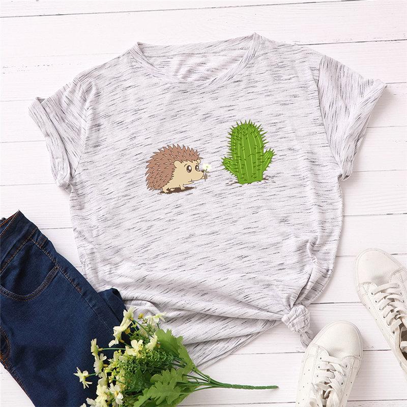 Fashion 100% Cotton Women T-shirt Cute Hedgehog Cartoon Printed Casual Female Top Plus Size Good-quality Summer T Shirt S-5XL