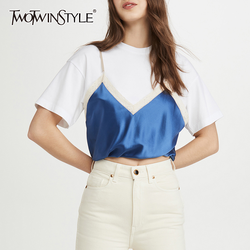 TWOTWINSTYLE Casual Patchwork Women T-shirt O Neck Short Sleeve Lace Hit Color Loose T Shirt For Female Fashion 2020 Clothes New