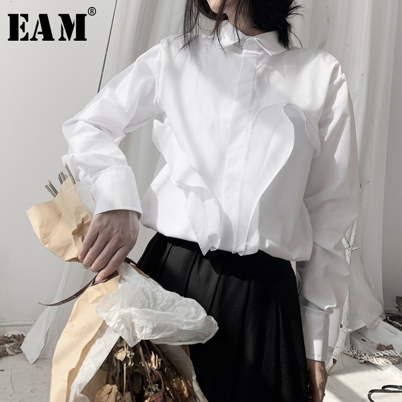 [EAM] Women White Split Joint Big Size Blouse New Lapel Long Sleeve Loose Fit Shirt Fashion Tide Spring Autumn 2020 19A-a554