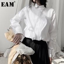 [EAM] נשים לבן פיצול משותף גדול גודל חולצה חדש דש ארוך שרוול Loose Fit חולצה אופנה גאות באביב סתיו 2020 19A a554
