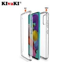 Custodia per telefono trasparente Full Body 360 anteriore per Samsung Galaxy A21S A51 A71 A50 A70 A10 A20E S8 S9 S10 Plus S20 Ultra S20FE Cover