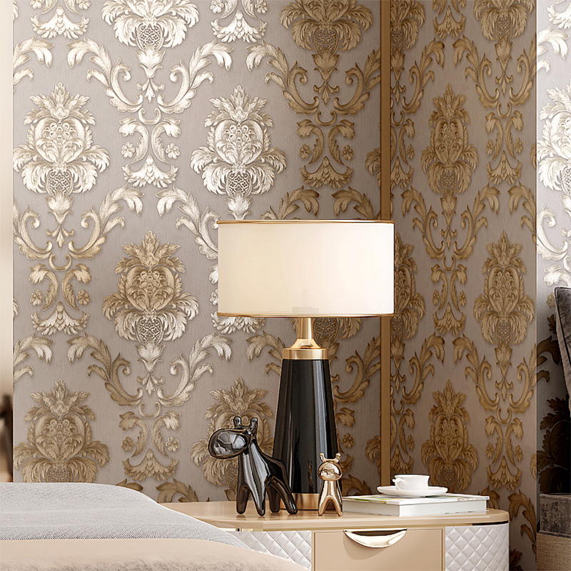 Beige-grey Gold Textured Luxury Classic 3D Damask Wallpaper Bedroom Living Room Home Decor Waterproof Vinyl PVC Wall Paper Roll