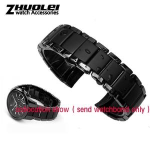 Image 4 - Dla AR1452 AR1451 ceramiczne watchband i przypadku 22mm 24mm wysokiej jakości czarny mężczyźni ceramiczne pasek bransoleta ceramiczna ze stali czarny deployment kompania bransoletka