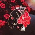 Элегантная жесткая эмалированная булавка в японском стиле с изображением китайской будки, милая лиса и красивые красные цветы, брошь с изоб...