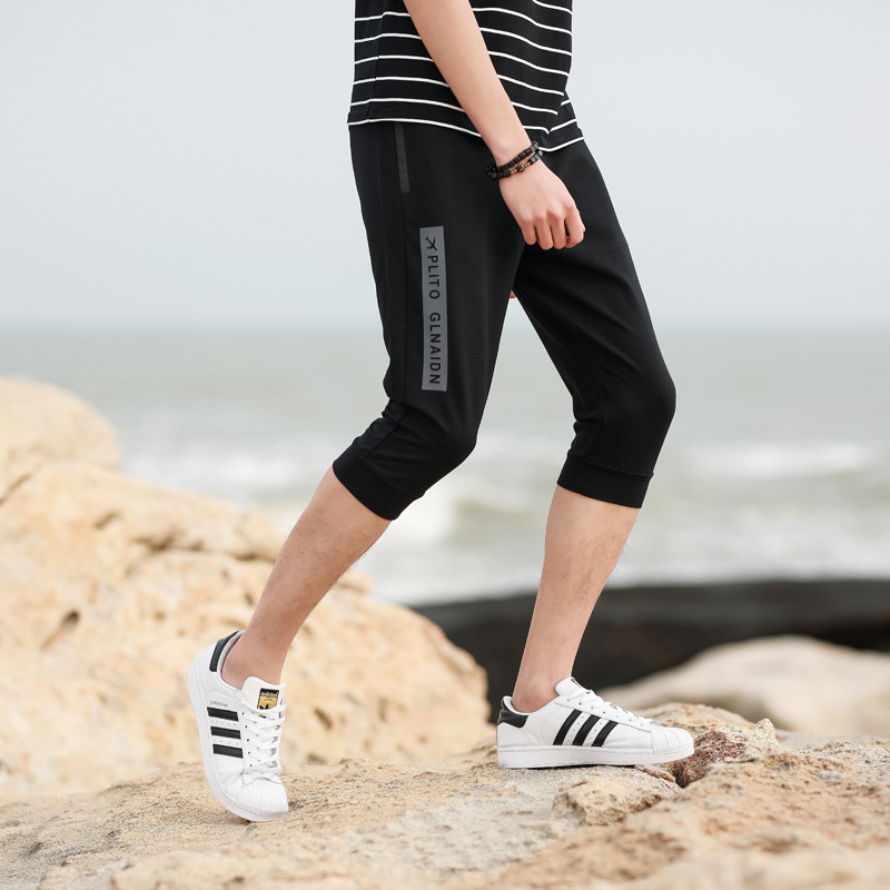2018 Summer New Style Men Korean-style Casual Sports Shorts Casual Micro Elastic-Loose-Fit Capri Pants Men'S Wear