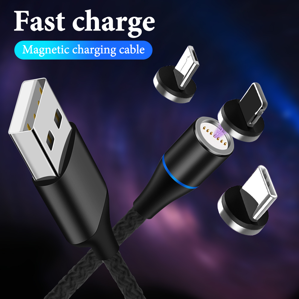 3A Magnetic Micro USB Cable For Samsung Fast Charging Data Wire Cord Magnet Charger USB Type C 1m Mobile Phone Charging Cable image
