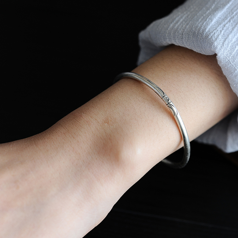 925 Sterling Silver Thai old Silversmith Handcrafted Sterling Silver Open Solid Simple Trendy Fine Bracelet Lady Jewelry in Bracelets Bangles from Jewelry Accessories