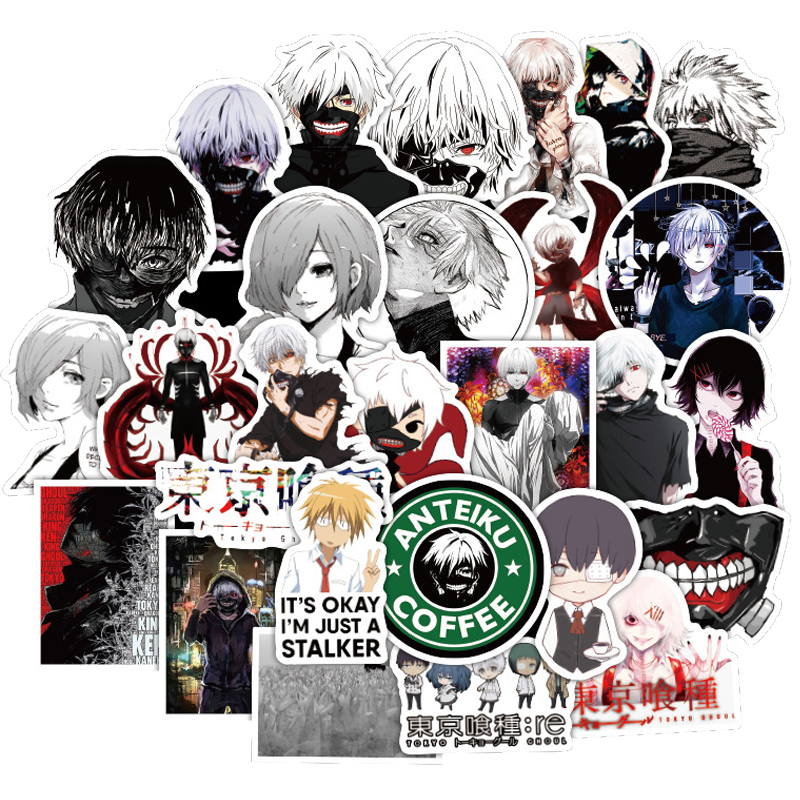 50PCS Pack Tokyo Ghoul Stickers Waterproof Japan Anime DIY For On Car Laptop Guitar Phone Ps4 Luggage Cool Sticker