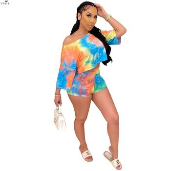 2020 Summer Women Two Pieces Sets Tracksuits Tie-dye Print O-neck Crop Tops+shorts Suits Sexy Night Joggers Sporty Club Outfits women summer two pieces sets dress casual solid backless crop tops skirts suits set female night party club dresses tracksuit