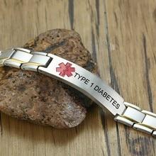 Vnox Medical TYPE 1 DIABETES Magnet ID Bracelets for Men Stainless Steel Link Chain Magnetic Bracelets Pain Relief Custom Jewels