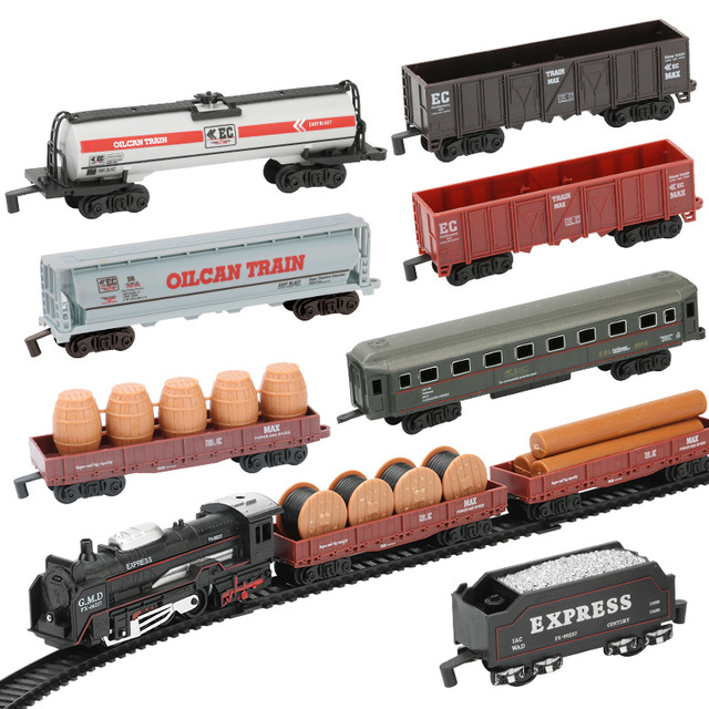 Classic Electric Trains Rail King Railway Motorized Trian Track Set Model Toy Kids Toys for Children DIY Toy car Free Shopping