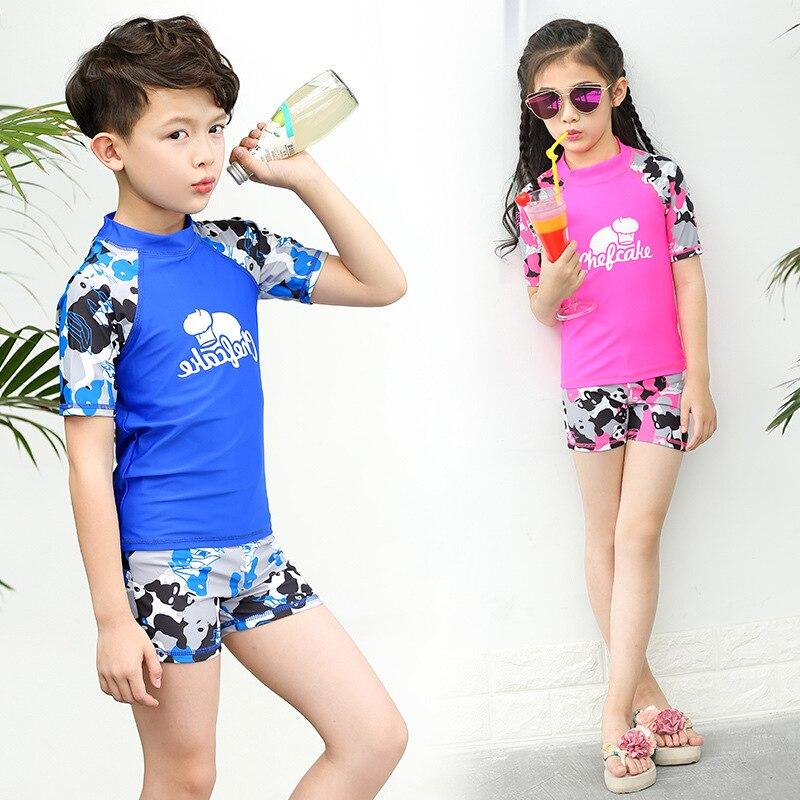 CHILDREN'S Swimwear Split Two Piece Set BOY'S Boxer Short-sleeved Top Girls Navy Camouflage Big Boy Hot Springs Swimwear