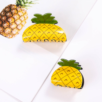 Korean Fashion Cute Pineapple Mini Hair Claw Women Solid Hair Crab Clips Ponytail Hold Girl Washing Hair Tool Hair Accessories image