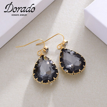 Dorado New Design Classic Black White Water Drop Crystal Dangle Earrings For Women Party Simple Trendy Brincos Jewelry image