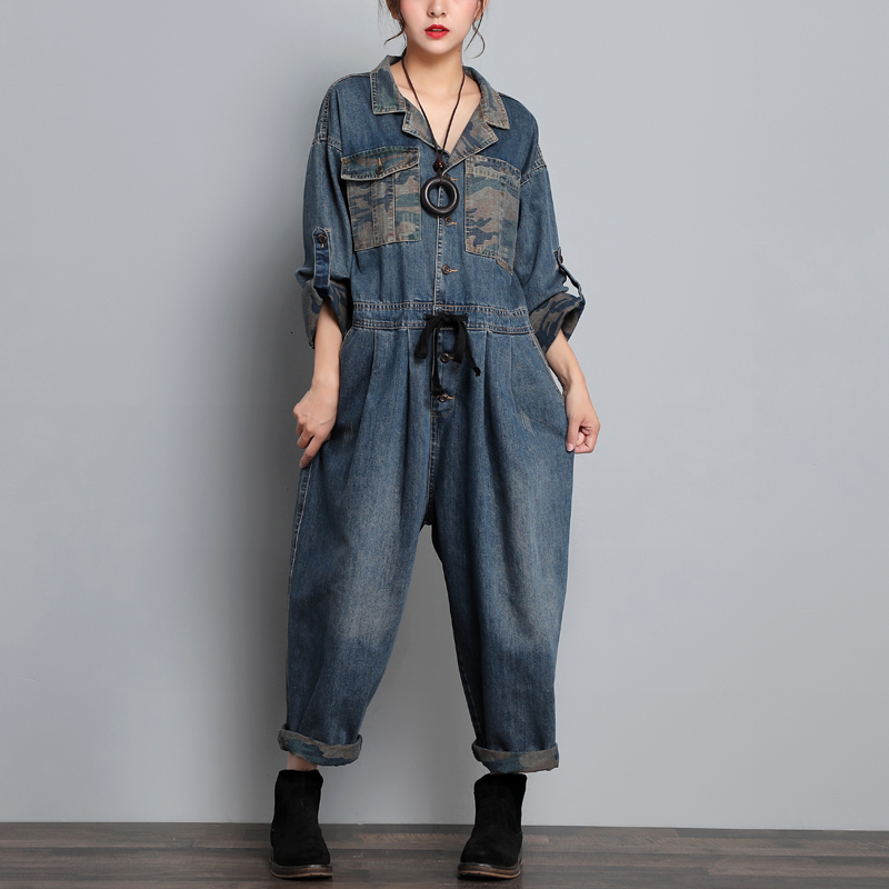 Women Baggy Wide Leg Jean Jumpsuit Blazer Style Long Sleeve Cowboy One Piece Drop Crotch Overall Original Europe Denim Rompers