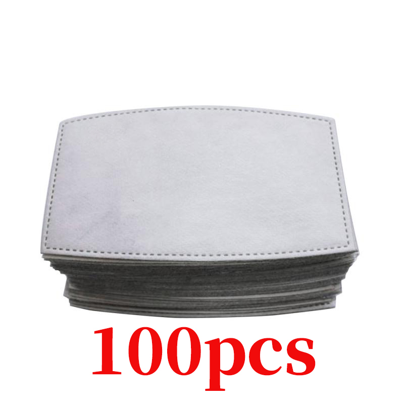 100pcs 5 Layers Disposable Insert Filter Mouth Mask Activated Carbon Replacement Motorcycle Air Face Mask Filter Paper For Adult