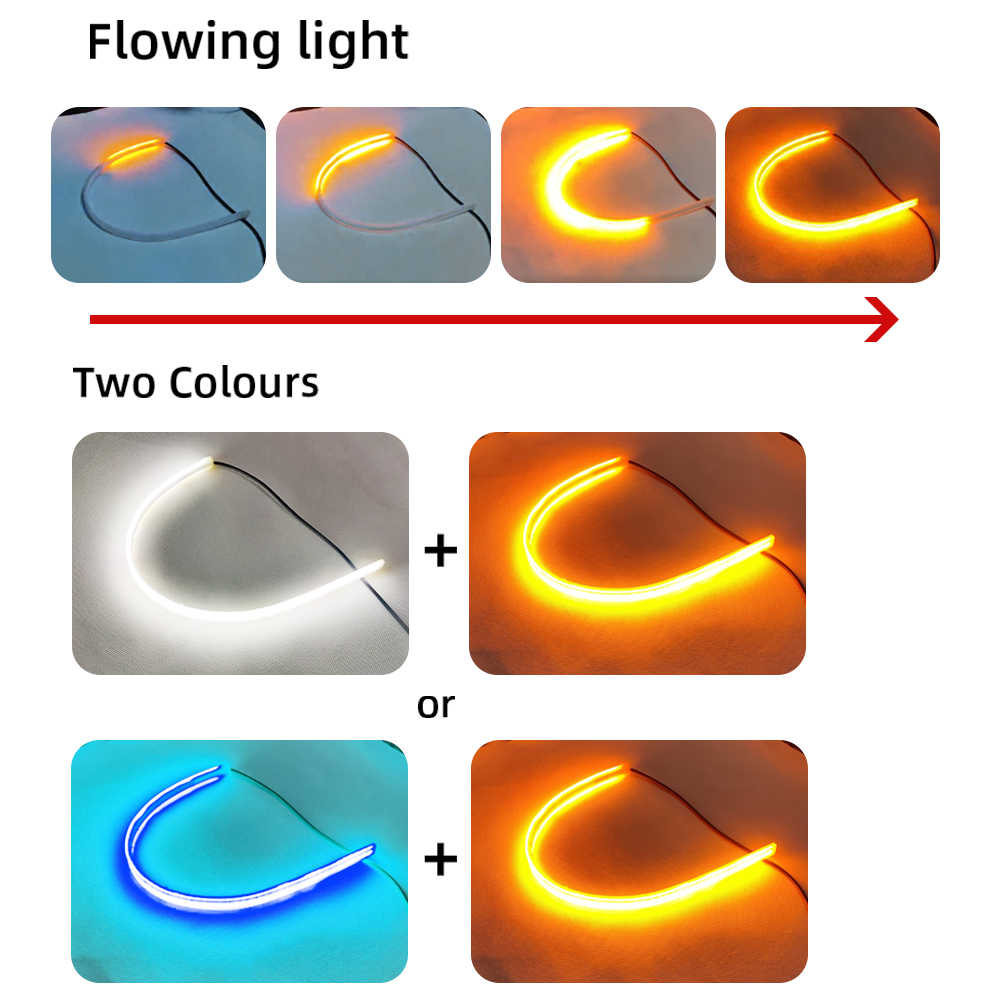 2x DRL בשעות היום ריצה נצנץ אור גמיש רך צינור מדריך בר LED רצועת לבן להפוך צהוב אות לרכב נצנץ אורות בר