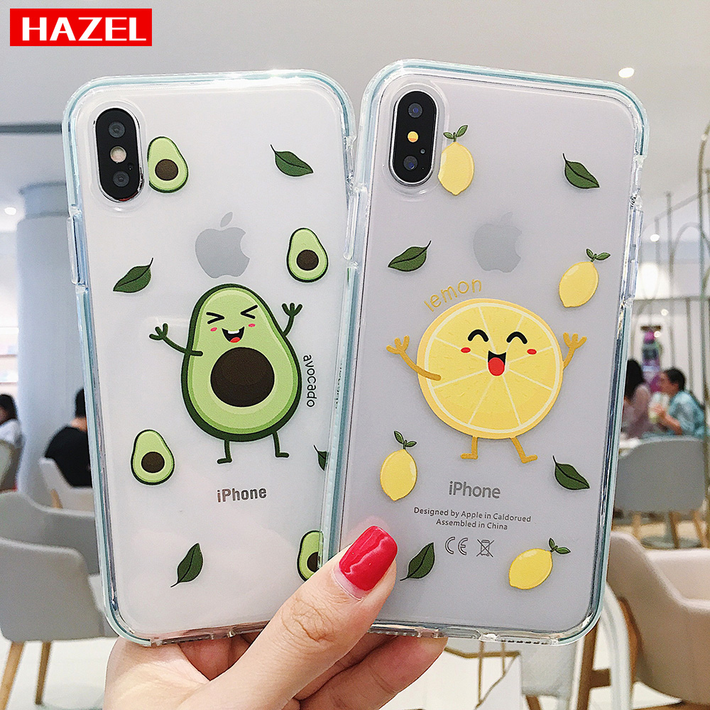 Cute cartoon fruit avocado lemon Anti-fall Soft silicone Phone Cover Case for iphone 11 Pro XS Max 6 6S 7 8 Plus X XR Shell Case