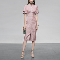 Seifrmann Summer Fashion Runway Split Midi Dress Women Jacquard Chiffon Vintage High Waist Double Butterfly Sleeve Ladies Dress