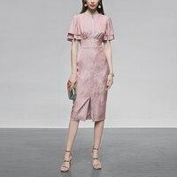 Seifrmann Summer Fashion Runway Split Midi Dress Women Jacquard Chiffon Vintage High Waist Double Butterfly Sleeve Ladies Dress