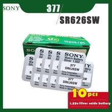 10PCS SONY Original 377 SR626SW 1,55 V Silber Oxid Knopf Zelle Batterie 626 SR626 V377 AG4 für Uhr Spielzeug einzelne korn verpackung