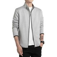 2019 Autumn Winter Men Sweatshirt Men Fleece Jacket Male Cardigan Hoodies Jacket Stand Collar Sportswear Tracksuit Baseball Coat