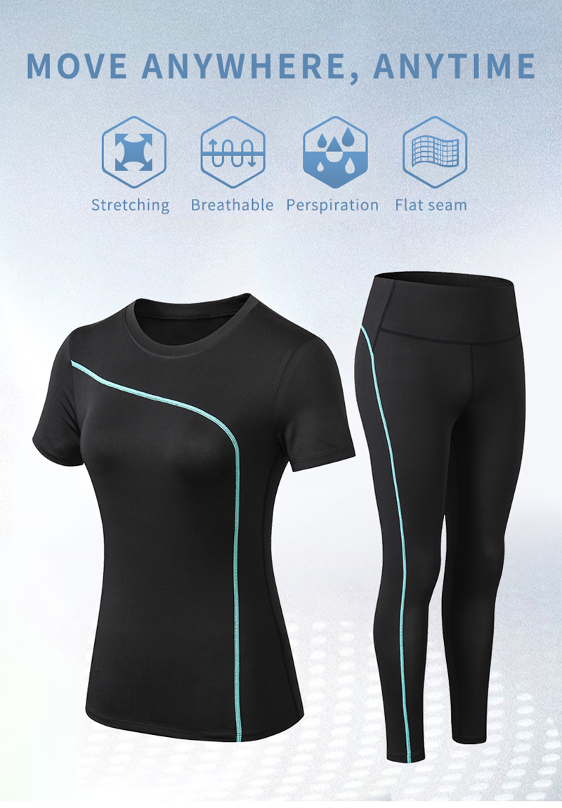 H61630e0e370f495fa31d95e85e55c8095 - Yoga Set Quick Dry 2 Piece Female Short-sleeved long Pants Outdoor Sportswear Fitness suit Plus Size Sport outfit for woman