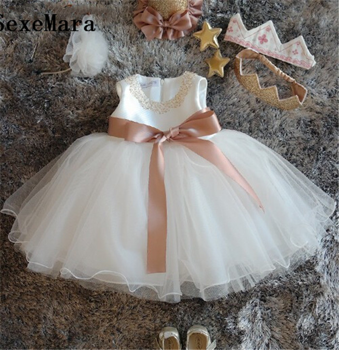 Ivory White   Flower     Girl     Dress   Infant newborn christening   dress   baptism gown baby Birthday   Dress   1 Year princess with hat sash
