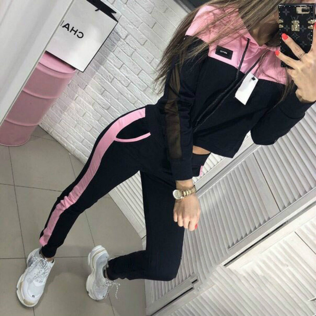 Perimedes Women Solid Color Running Set Hooded Sweatshirt And Pant Female Tracksuit Sport Suit Fatos De Treino Mulher#g25