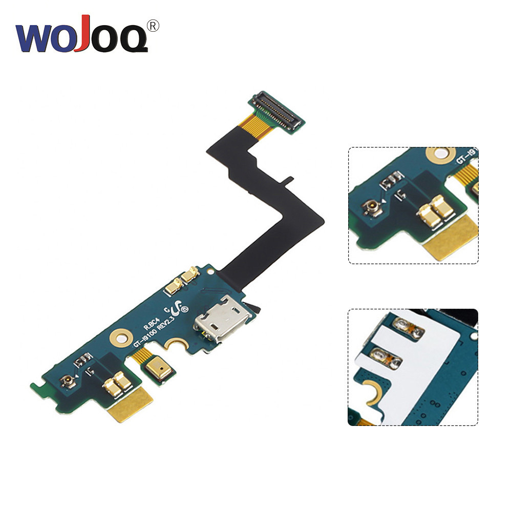 WOJOQ Cellphone Parts Dock Connector Charge For Samsung  S2 I9100 USB Charging Port Flex Cable Replacement Repair Parts