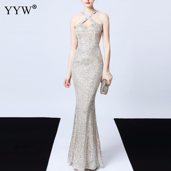 Women Sequined Evening Dress 2020 Backless Halter Long Mermaid Deep V Sexy Robe De Soiree Ladies Elegant Maxi Party - discount item  25% OFF Special Occasion Dresses