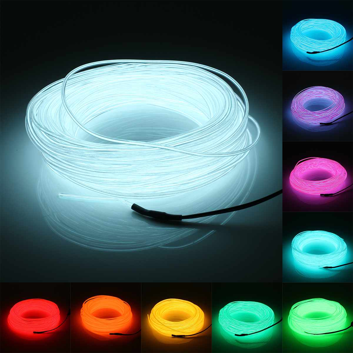 20M EL Light LED Strip DC 12V Flexible Soft 10 Colors Tube Wire Neon Glow Car Rope Strip Light For Christmas Decoration