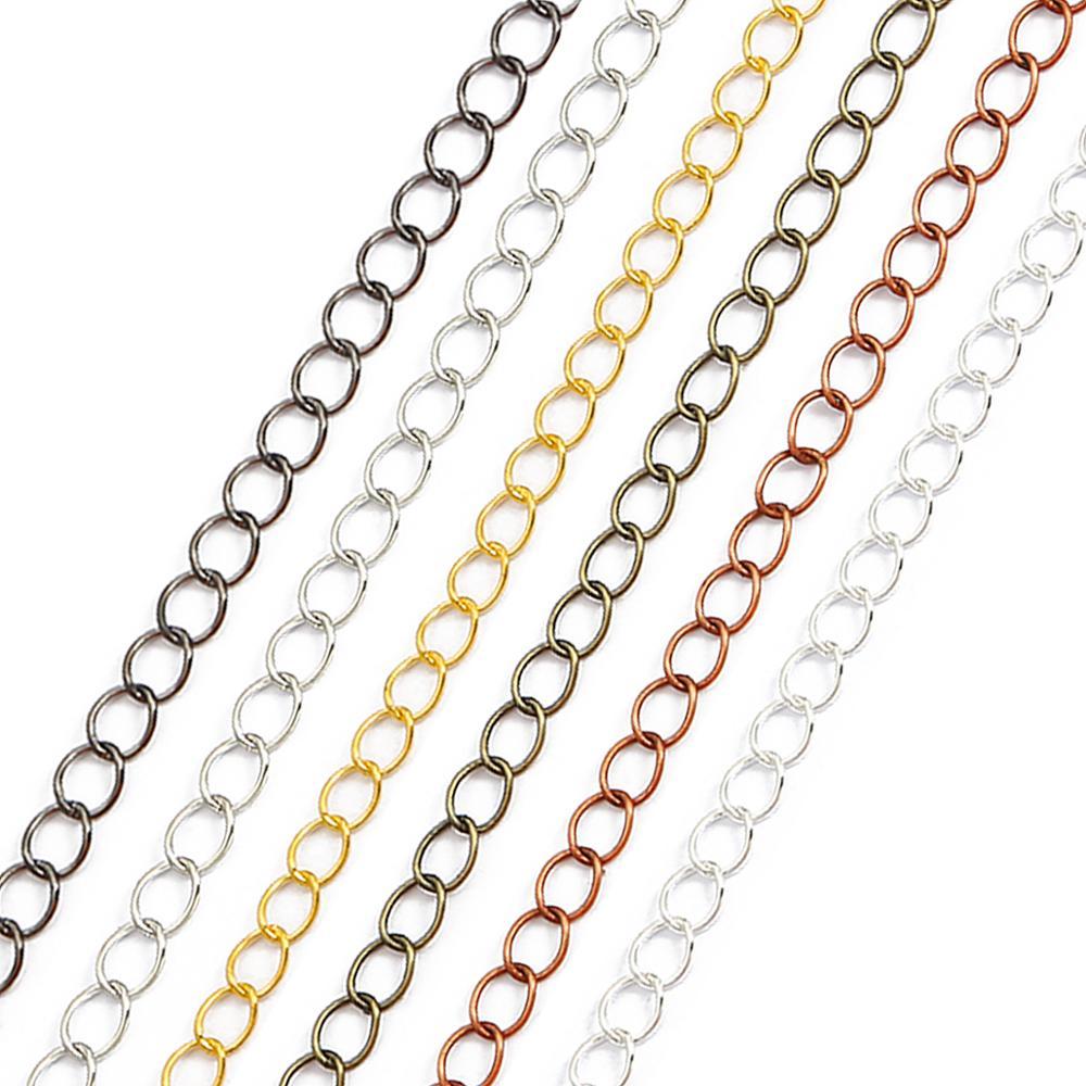 5 metro/lote oval longo link anel extensão colar cadeias cauda extensor corrente para diy jóias fazer descobertas suprimentos