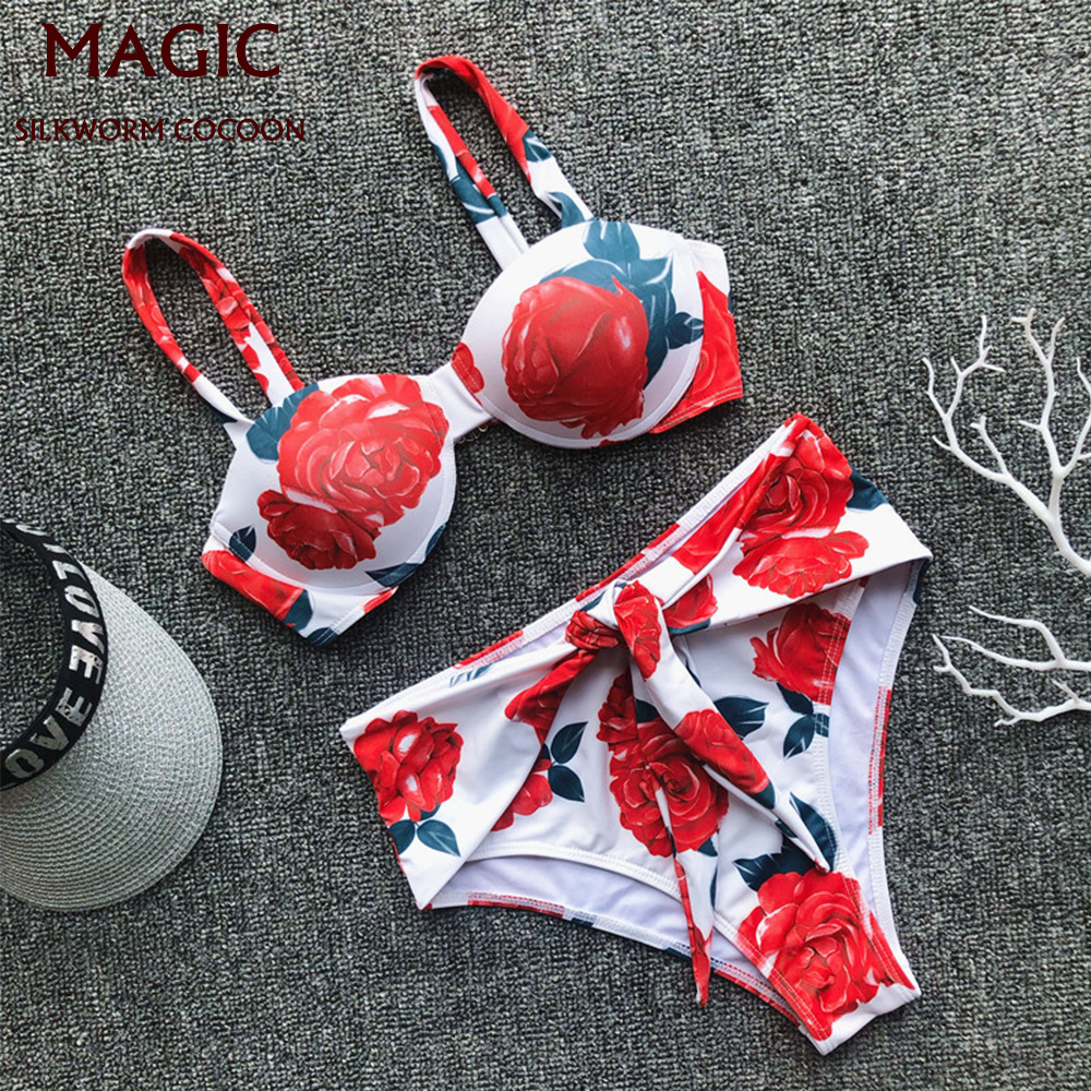 Sexy High Waist Print Bikini Set Swimwear Women Swimsuit Push Up Swimming Suit Womens Halter Top Bathing Suit Beachwear Biquini