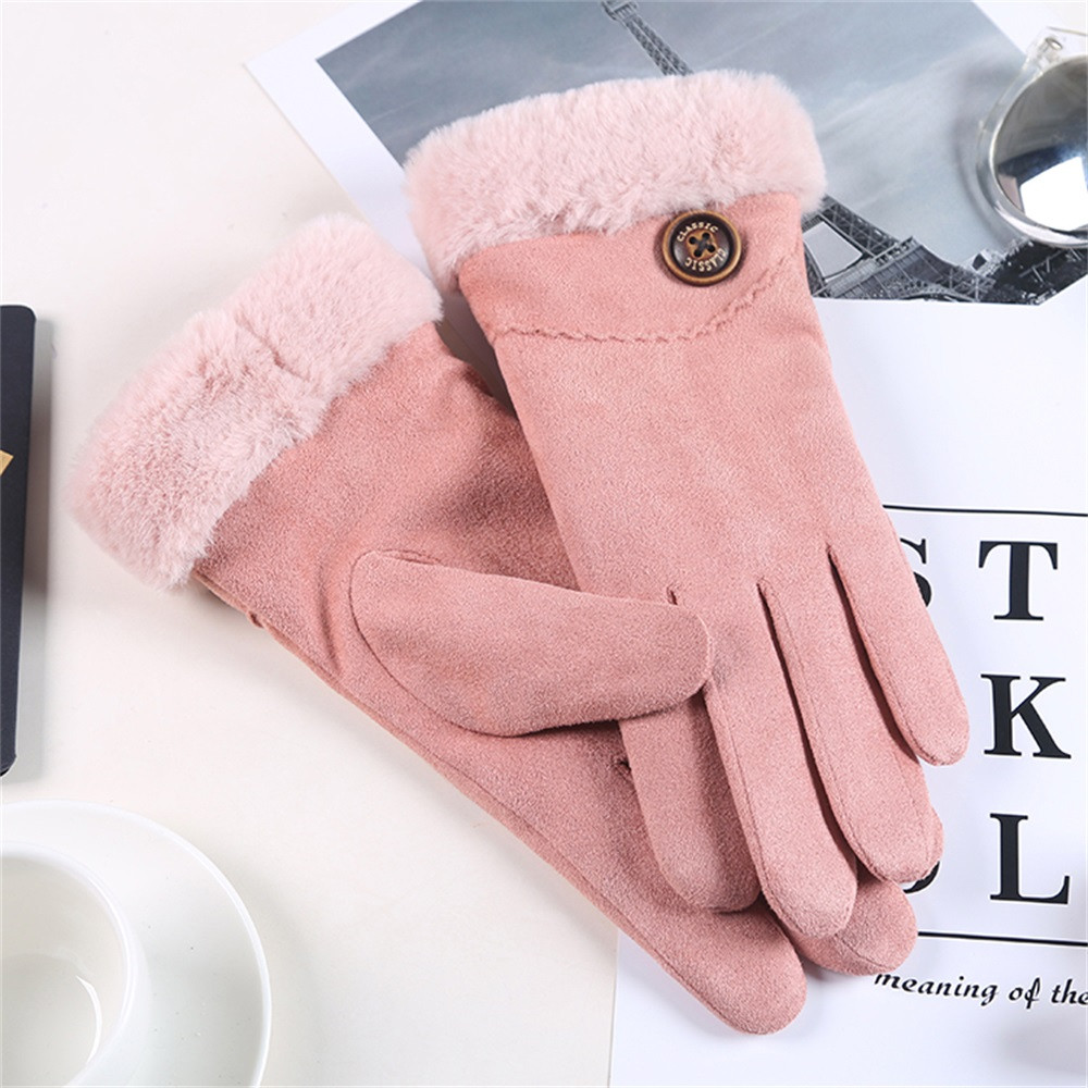 Women Winter Fur Gloves 2019 Fashion Sexy Windproof In Autumn And Winter Solid  Warm Plus Velvet Gloves Mittens For Women