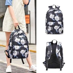 Image 3 - OKKID sacs décole pour filles rose noir fleur sac à dos enfants sac décole ensemble enfants impression florale école sac à dos enfant cadeau