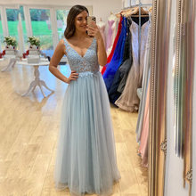 Uzn элегантное платье трапеция Голубое Кружевное с аппликацией