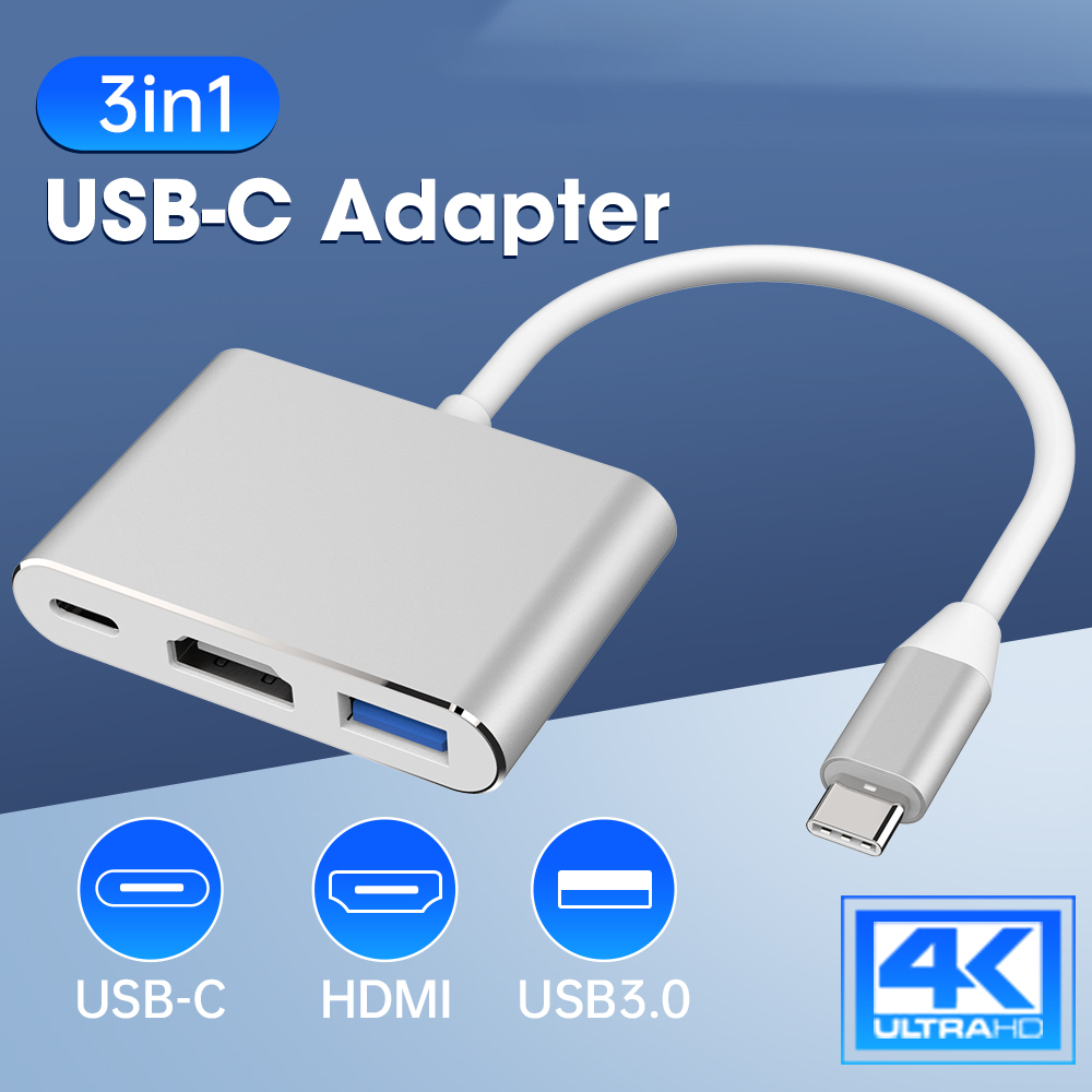 USB-C To HDMI 3 In 1 Cable Converter For Samsung Huawei Apple Mac Usb 3.1 Type C To HDMI 4K Adapter Cable