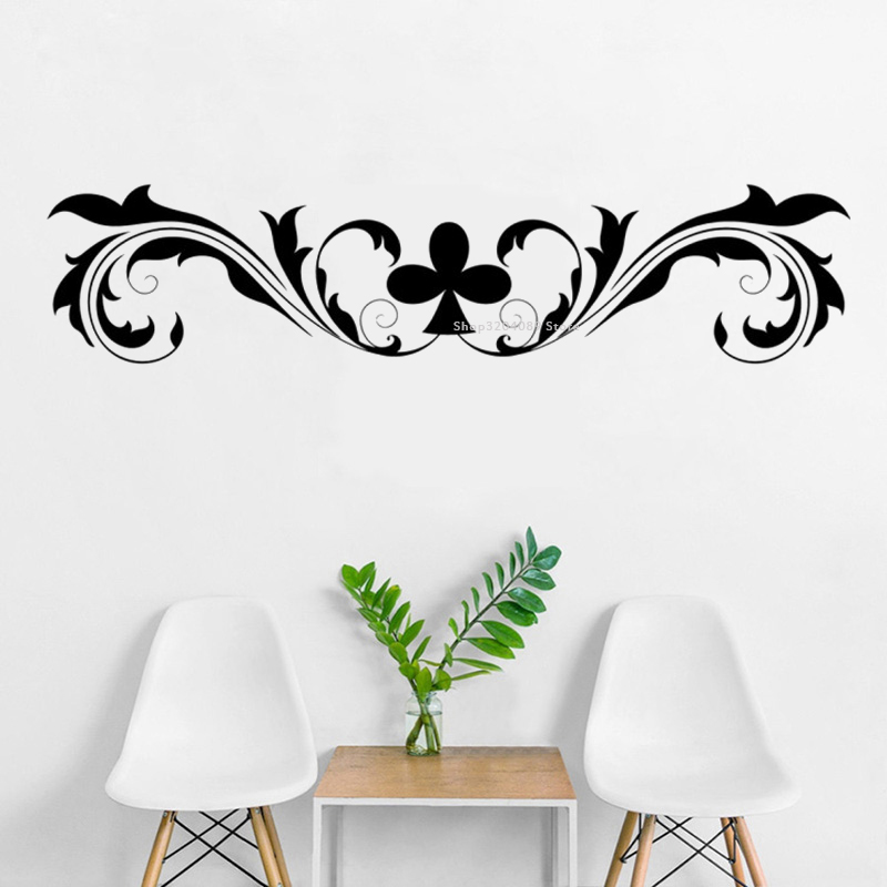 Swirl Club Card Games Wall Sticker Vine decoration Art mural Poker Chess Room Sofa background Headboard bedroom wallpaper DG370(China)