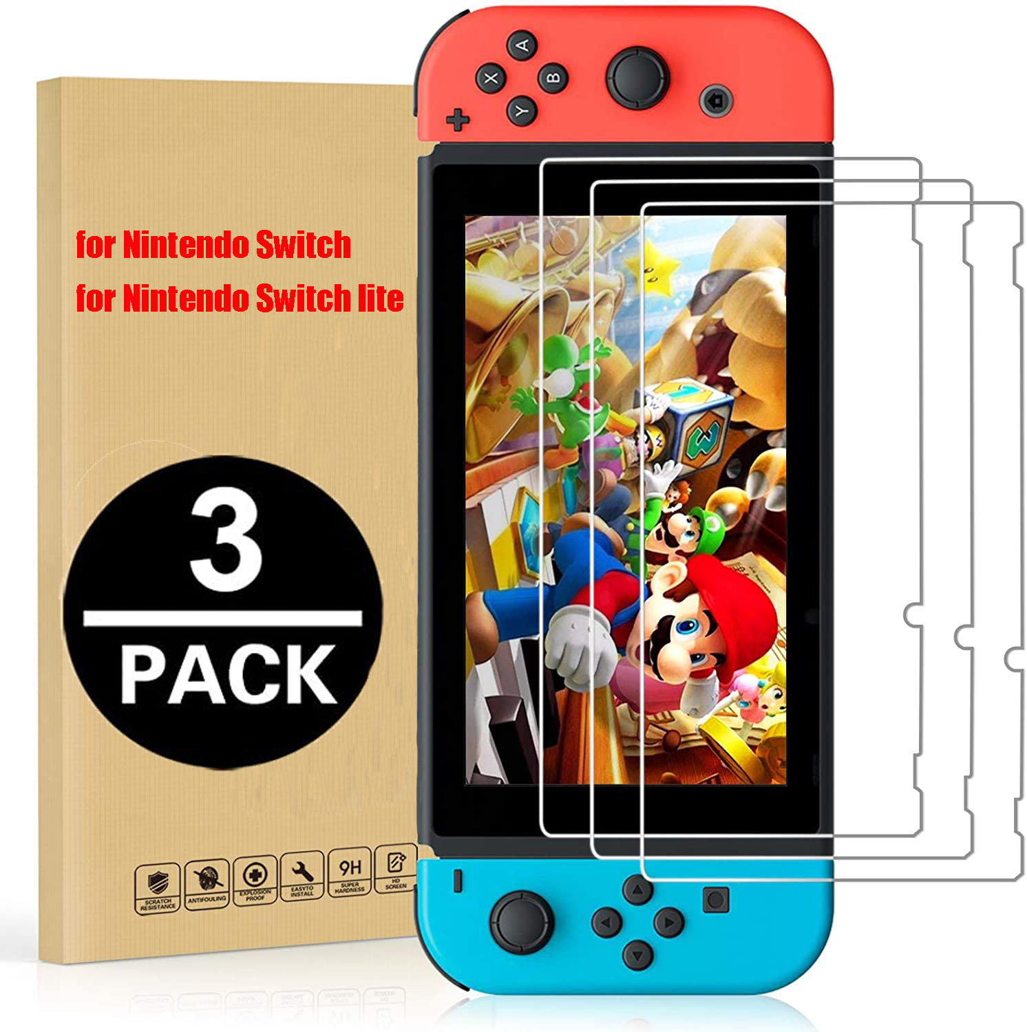3Pack for Nintendo Switch NS Tempered Glass Screen Protector 9H Hardness Glass for Nintendos Switch Lite Nintend Screen Film
