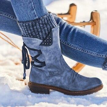 2020 Vrouwen Winter Mid Kuit Laarzen Flock Winter Schoenen Dames Mode Snowboots Schoenen Dij Hoge Suède Warm Botas