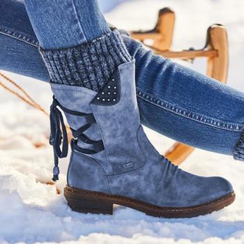 2020 damskie zimowe buty ze skórki cielęcej stado zimowe buty damskie modne buty śnieżne buty zakolanówki Suede Warm Botas tanie i dobre opinie KAMUCC Połowy łydki Wiązanej krzyżowe Patchwork SSL067 Dla dorosłych Kopyt obcasy Buty śniegu Cotton Fabric Okrągły nosek