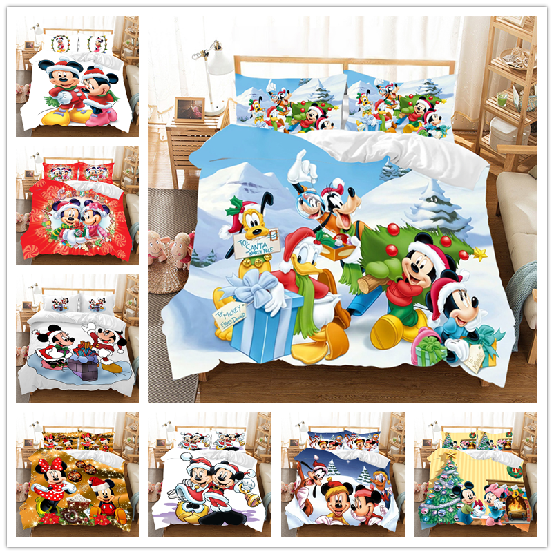 Mickey Minnie Christmas Bedding Set  Duvet Cover Children Bed Set King Size Bedding Set Nightmare Before Christmas Gift