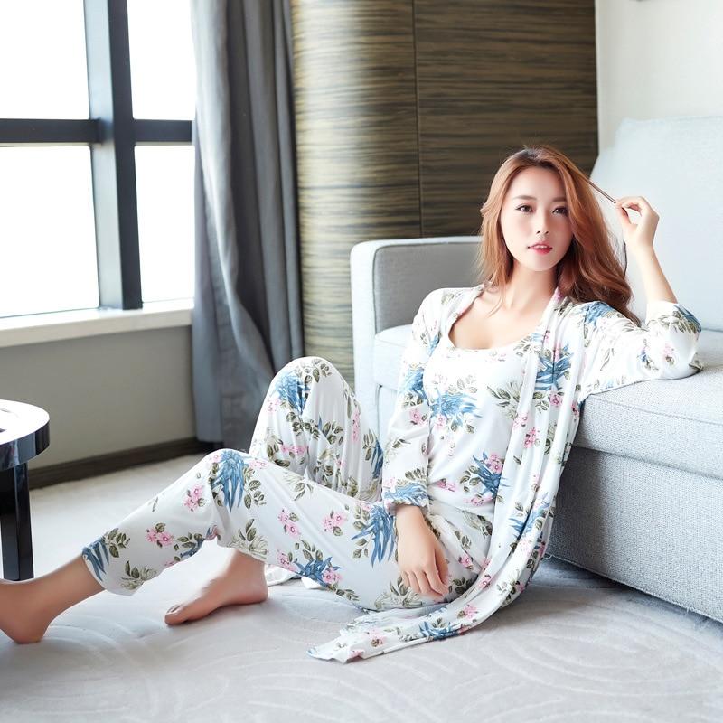 Women Pajamas Sets Sleepwear Ladies Pyjamas 2019 Milky Silk Pijamas Women Cotton Nightwear 3 Pieces Satin Home Clothes Female