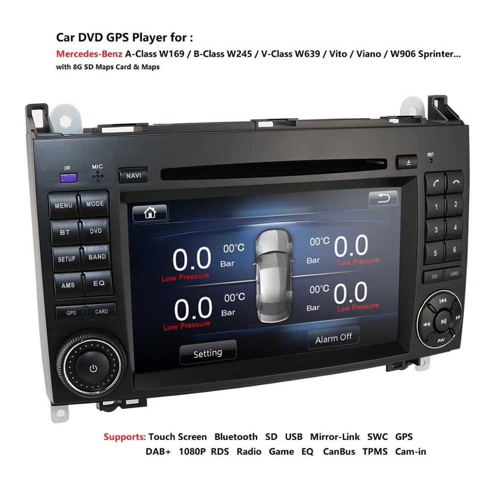 2 Din Auto Radio Car DVD Multimedia For Mercedes Benz B200 A B Class W169 W245 Viano Vito W639 Sprinter W906 GPS Navigation USB