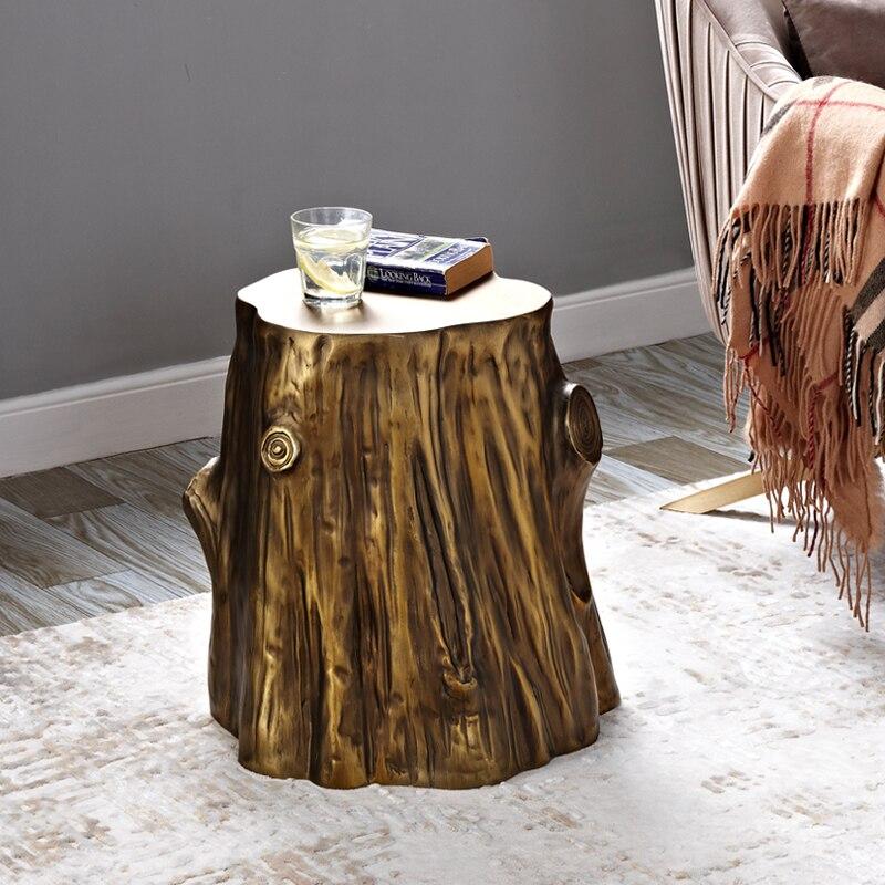 Imitação de madeira sala estar lateral pequena mesa de café retro casual pequena mesa de café banqueta personalidade mesa lateral - 2