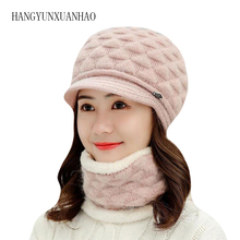 Women Rabbit Fur Beret Hat Spring Winter Warm Knitted Caps Scarf Crochet Wool Baret Elegant Ladies Solid Color Hats Femini